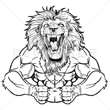 Black And White Lion Roaring Drawing Sketch Coloring Page